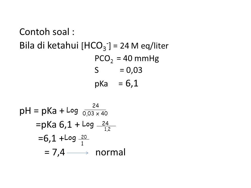 Log Log Log Contoh soal : Bila di ketahui [HCO3-] = 24 M eq/liter